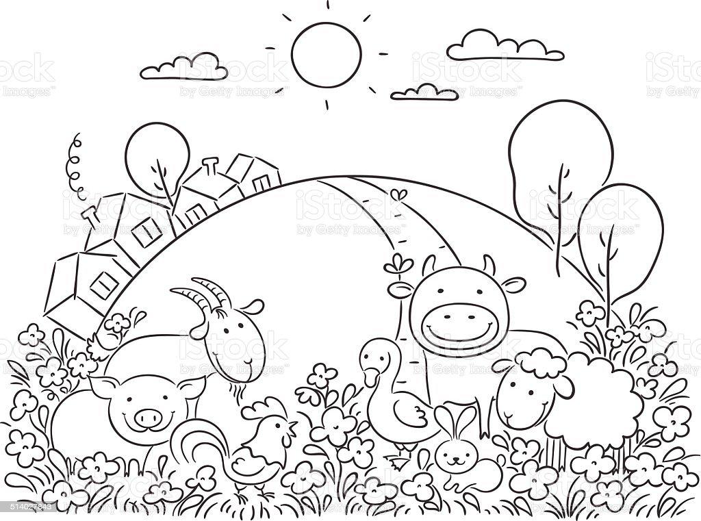 Farm animals and the green hill vector art illustration