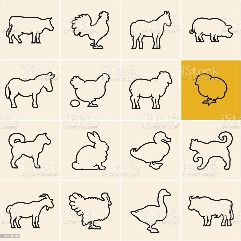 Farm animals. Animals icons outline. vector art illustration