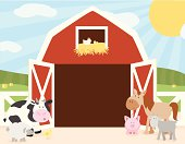 A vector illustration of some farm animals (cow, horse, sheep, pig, goat, chicken) on the farm in front of a barn with doors open to copy space. Objects are grouped and layered for easy editing. Files included: AICS5, EPS8 and Large High Res JPG.