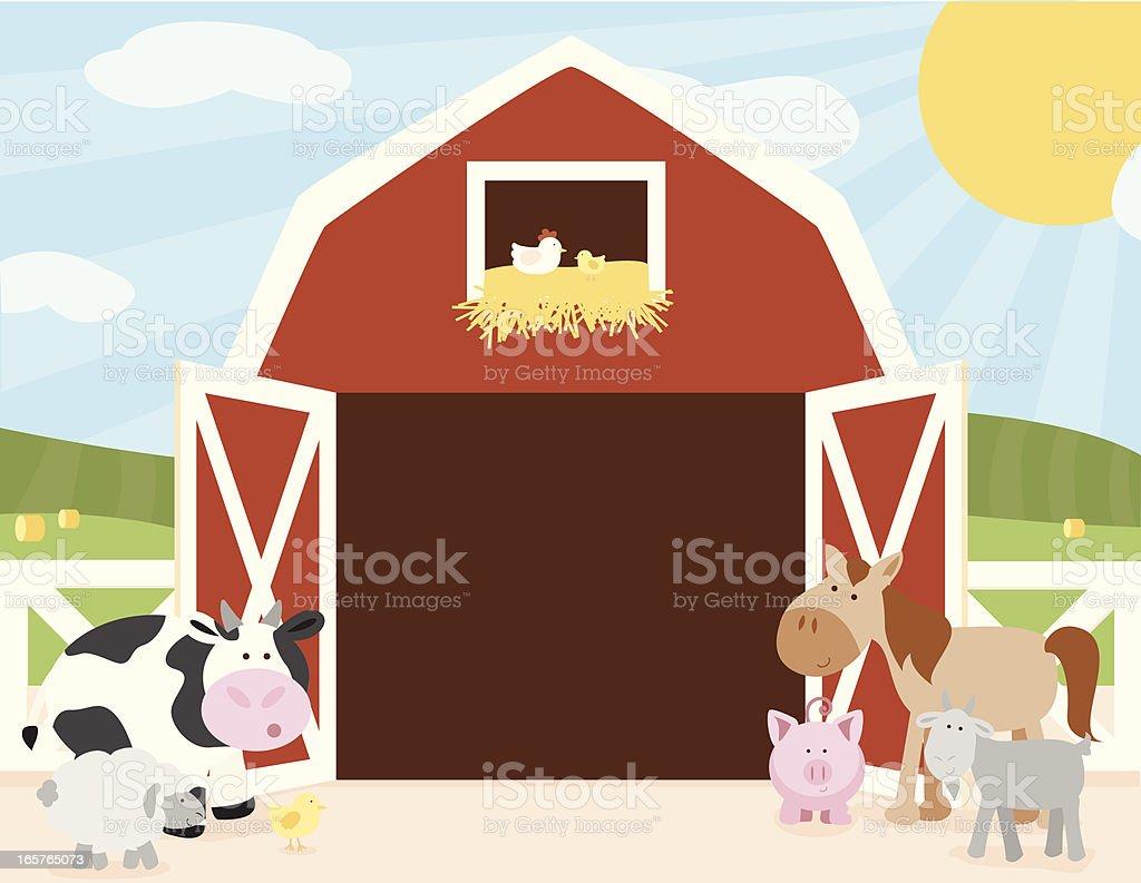 Animales de granja en escena Barn - ilustración de arte vectorial