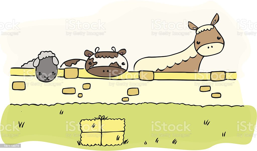 Farm Animals Behind A Wall Stock Vector Art & More Images of Animal ...