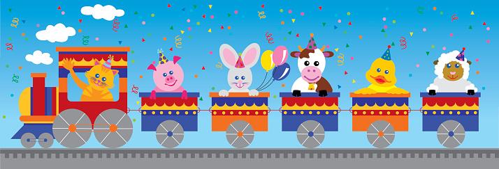 Farm animals birthday train