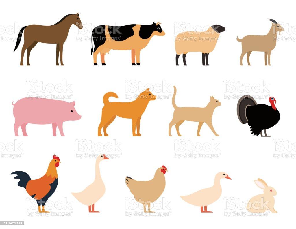 Animaux de la ferme noir illustration de vecteur pour le jeu, bétail, icônes - Illustration vectorielle