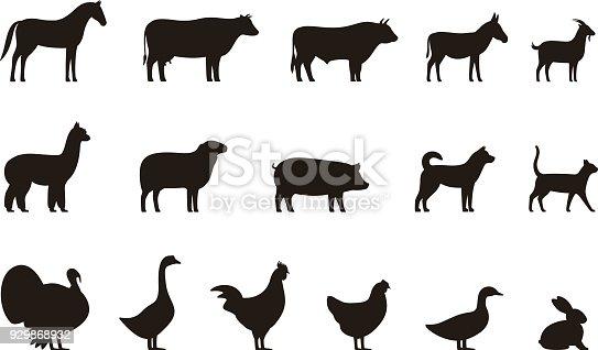 Farm Animals Black Icons Set Livestock Vector Illustration ...