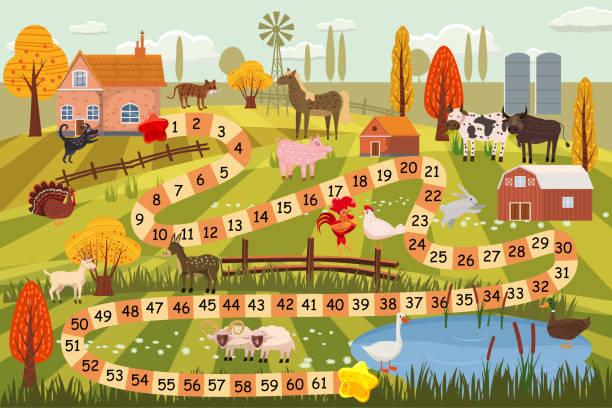 bauernhof-tiere-brettspiel, kuh, stier, schaf, hahn, huhn, hund, katze, widder, ziege, pferd, ente, gans, türkei, wirtschaftsgebäude, kulturlandschaft, zucht, vektor, abbildung, isoliert, cartoon-stil - entenhaus stock-grafiken, -clipart, -cartoons und -symbole