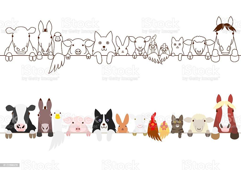 farm animals border set - ilustração de arte em vetor