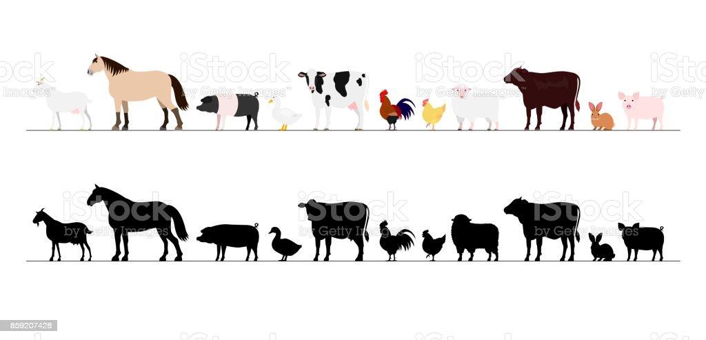 Farm animals border set vector art illustration
