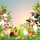 - cow, sheep, pig, hen, rooster, goose