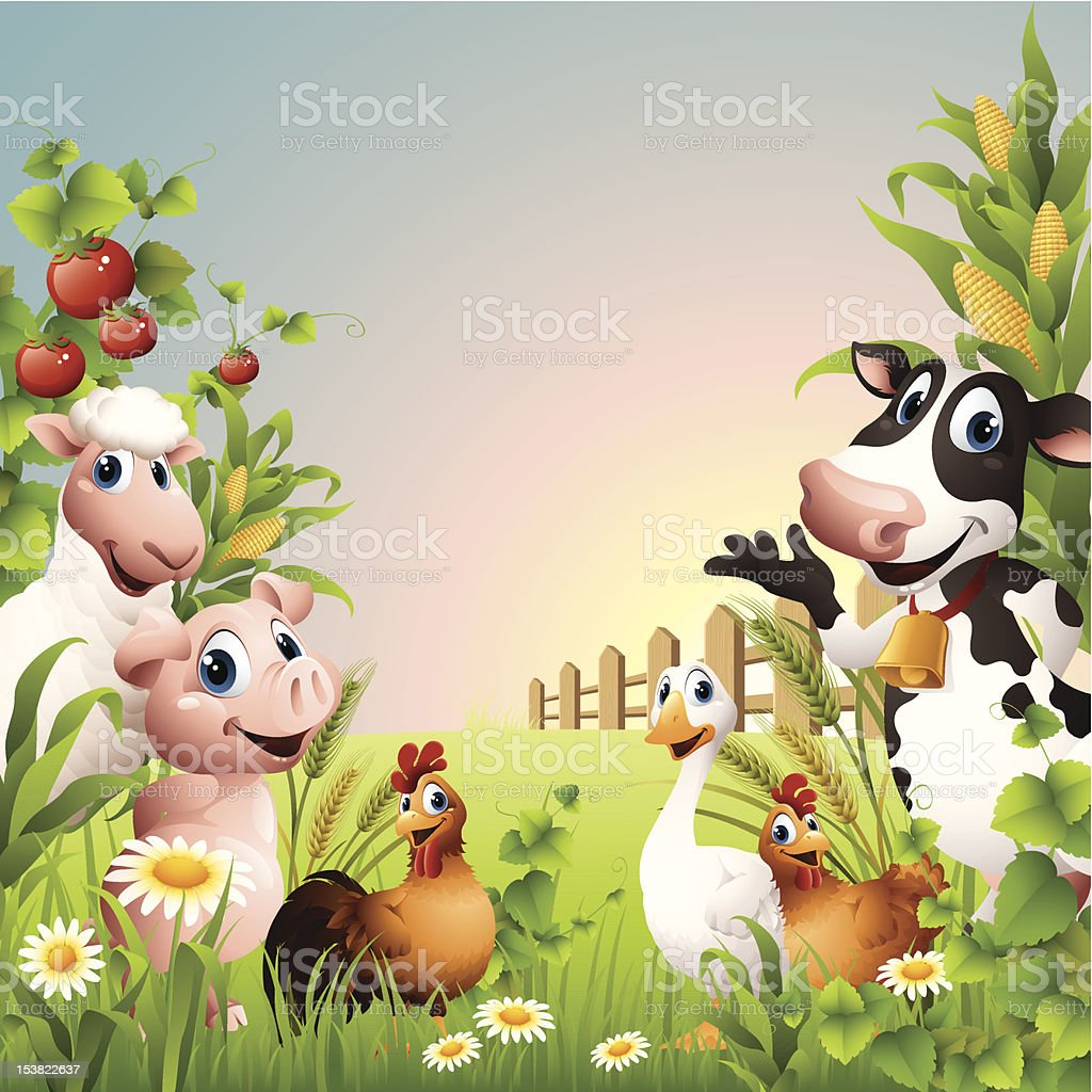 Animaux de la ferme-frontière - Illustration vectorielle