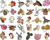 farm animals cartoon heads big set