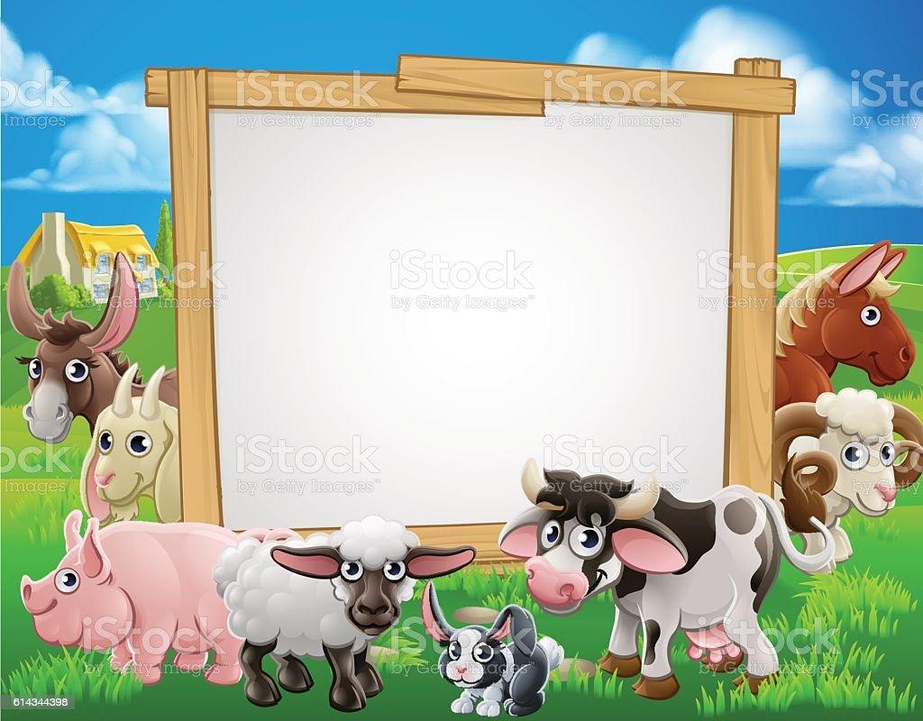 farm animals cartoon sign stock vector art 614344398 istock
