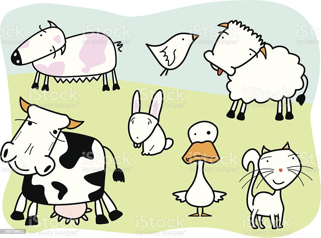 farm animals, cartoon style vector art illustration