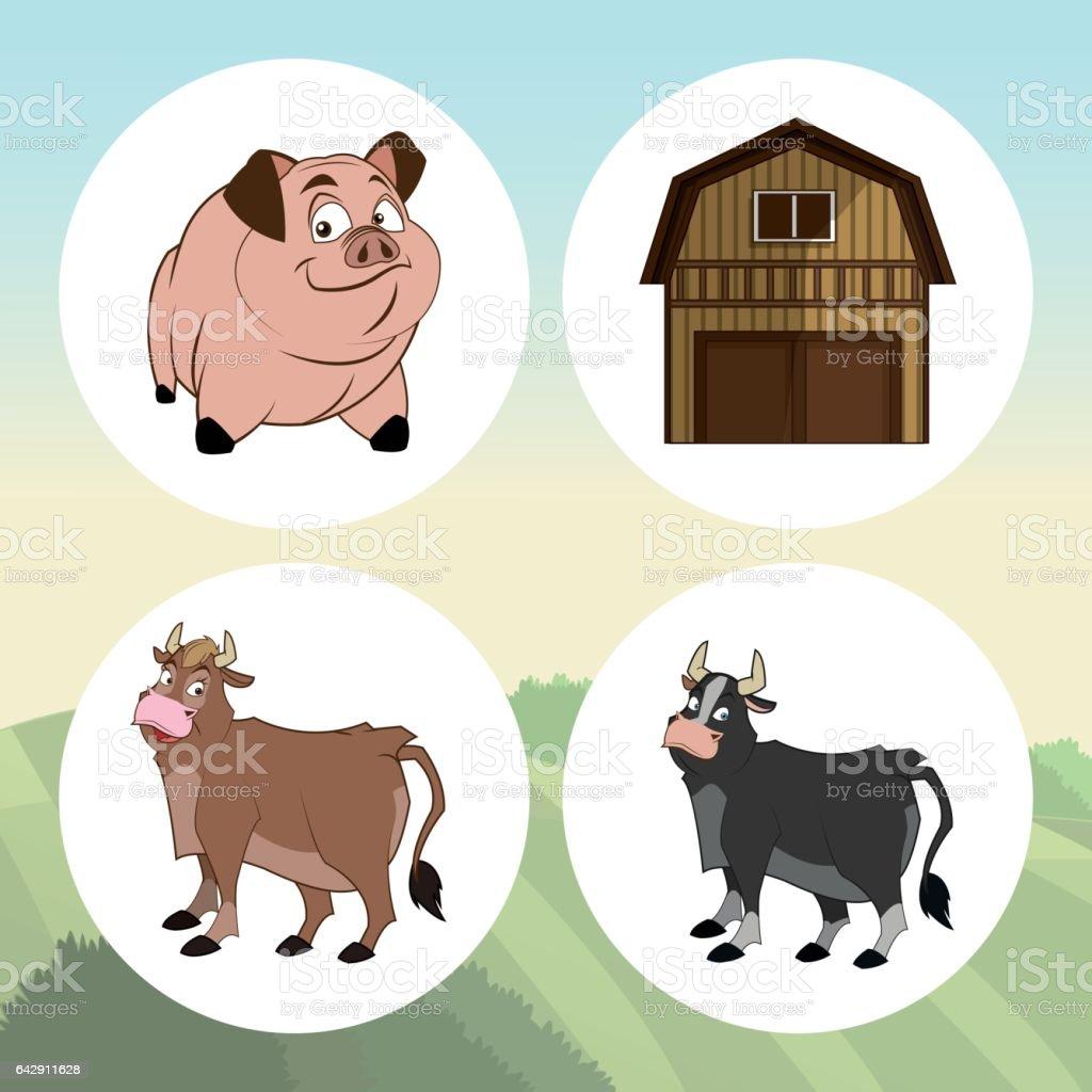 farm animals cartoons vector illustration stock vector art
