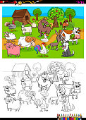 farm animals characters group color book