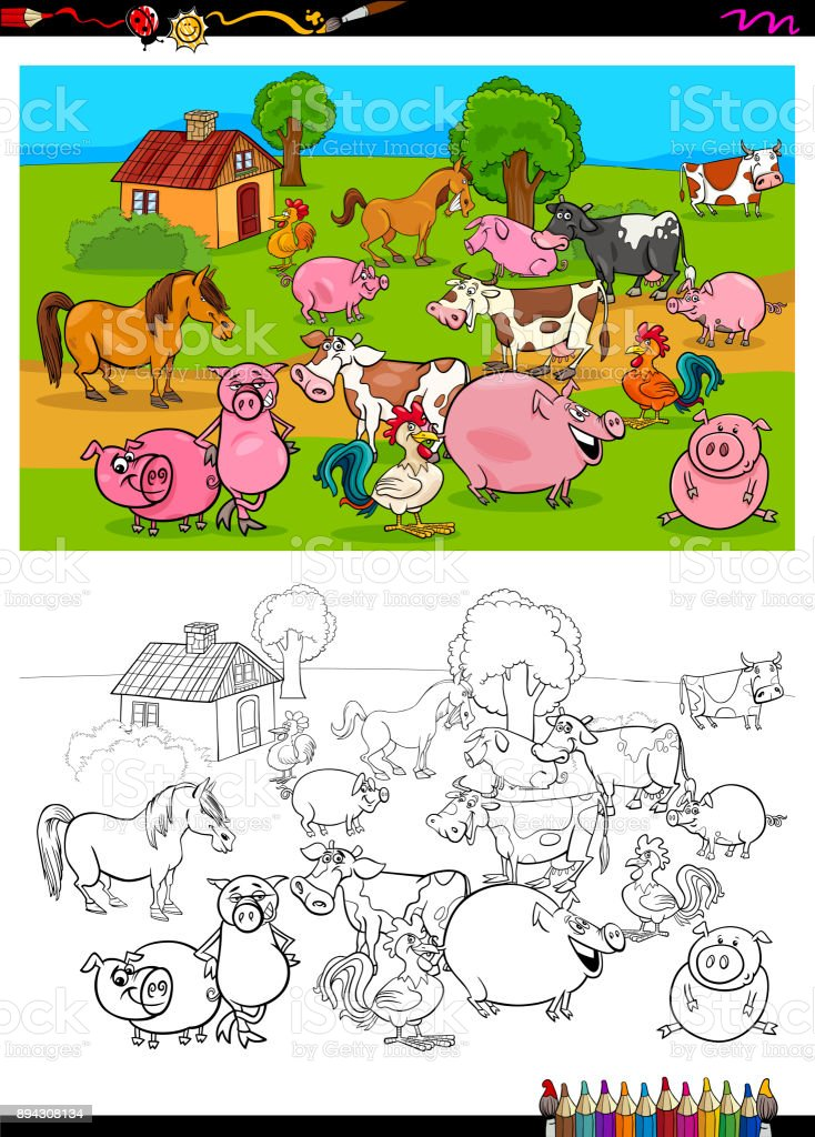 Ilustración de Grupo De Personajes De Animales De Granja Para ...