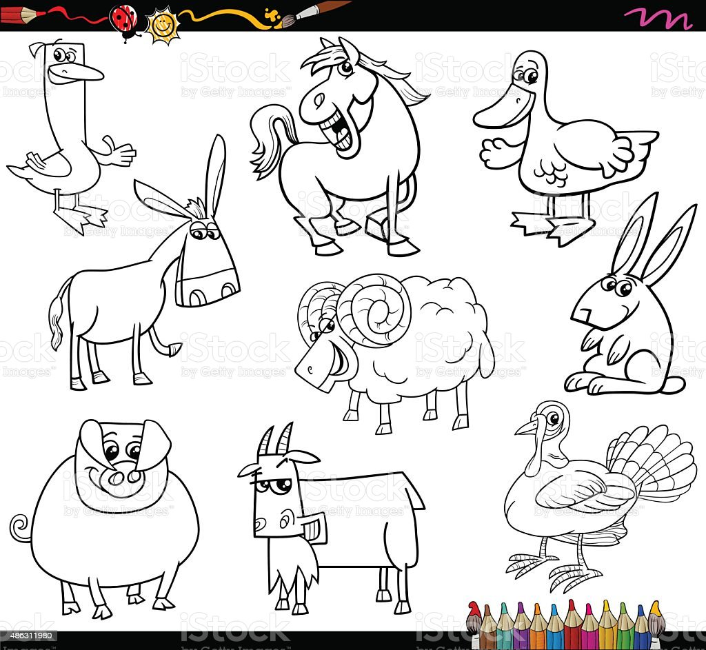 Farm Animals Coloring Book Royalty Free Stock Vector Art