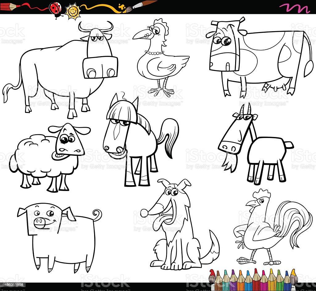 Fattoria animali da colorare bookd set immagini - Animale domestico da colorare pagine gratis ...