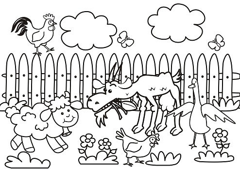 farm animals, coloring page, eps.