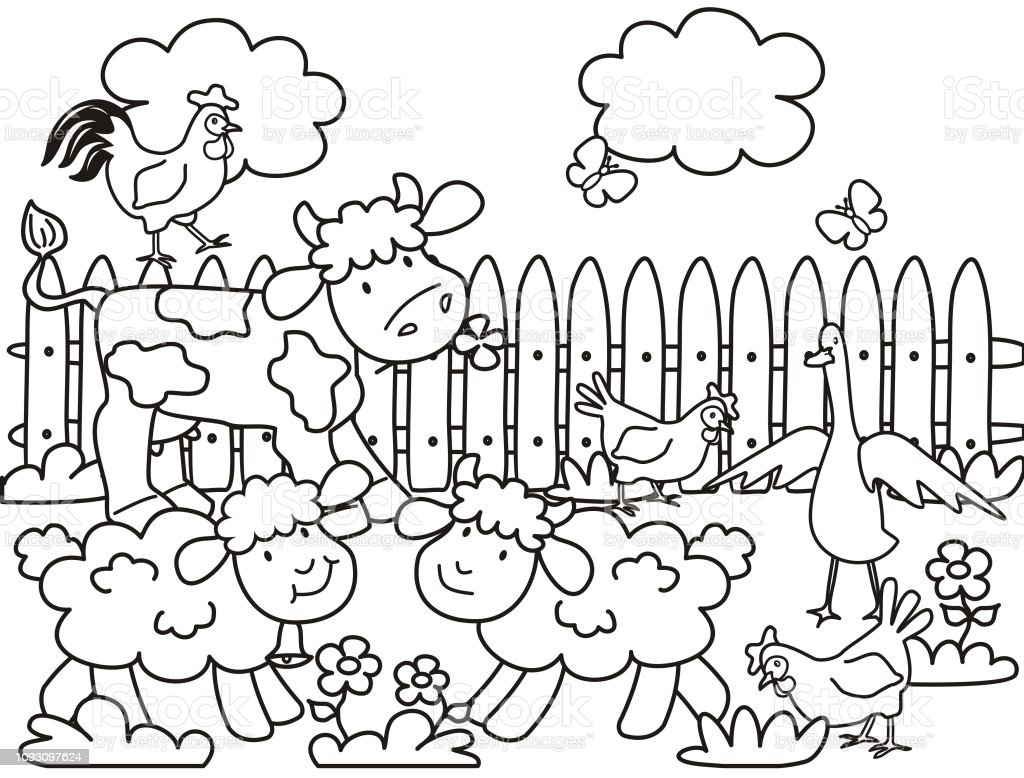 Farm Animals Coloring Page Stock Illustration Download