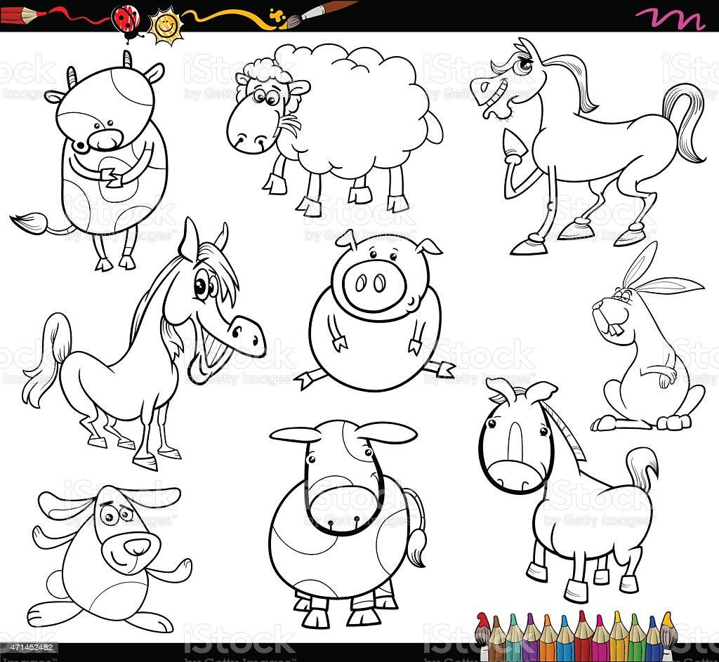 Farm Animals Coloring Page Stock Illustration Download Image Now
