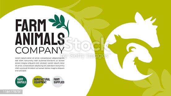 istock Farm animals company design template 1184778791