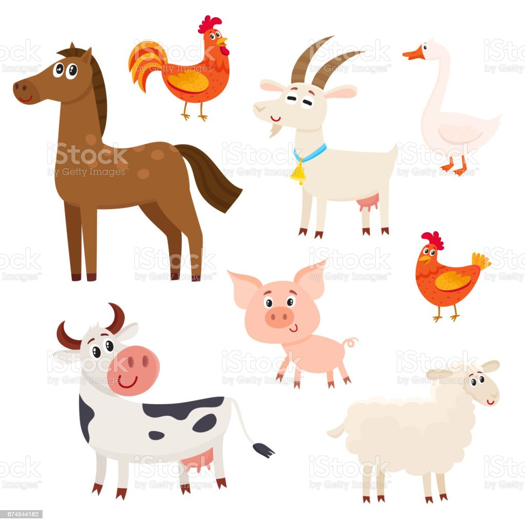 Farm animals - cow, sheep, horse, pig, goat, rooster, hen, goose vector art illustration