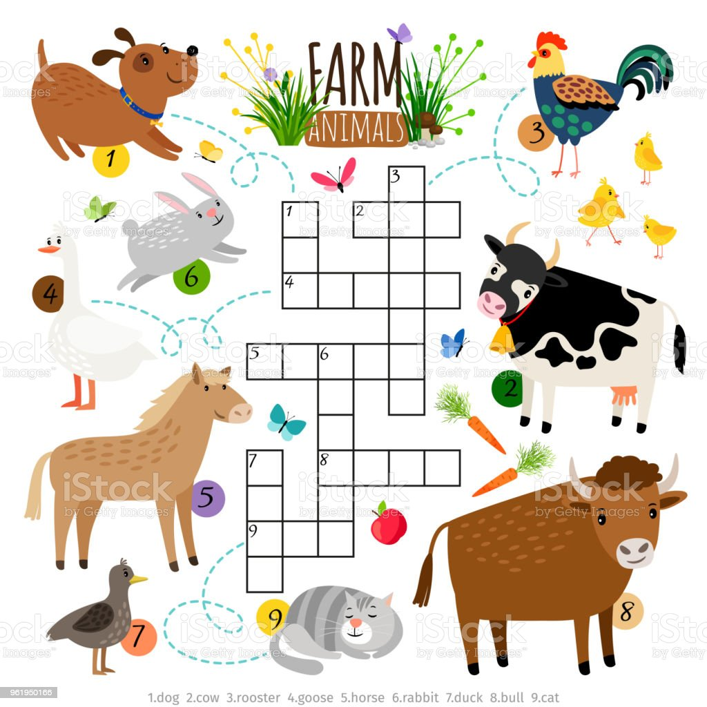 Farm Animals Crossword Kids Crossing Word Search Puzzle Game With ...