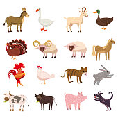 Farm animals cute set in cartoon style isolated on white background. Vector illustration. Cute cartoon animals collection sheep, goat, cow, donkey, horse, pig, cat, dog, duck, goose, chicken, ram, hen, rooster, bull, rabbit, turkey, isolated