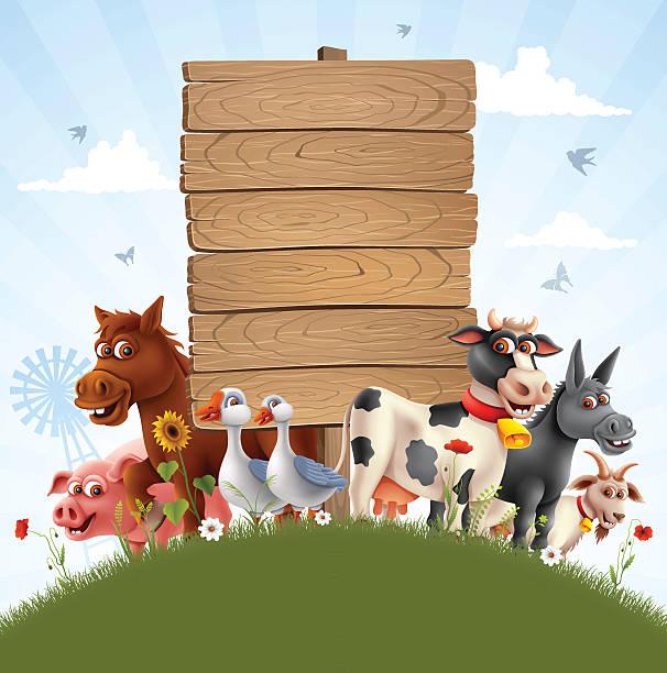Farm Animals Family vector art illustration