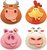 vector illustration of 4 farm animals heads - cow, hen, pig and sheep…