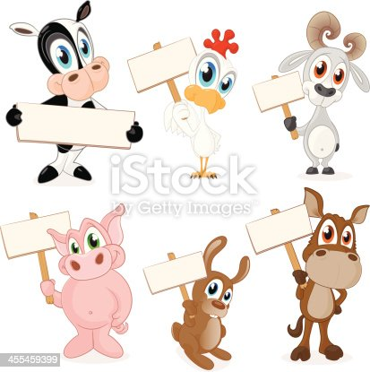Fully editable vector illustration of a collection of farm animals holding blank signs ready for you to input text of your choice.