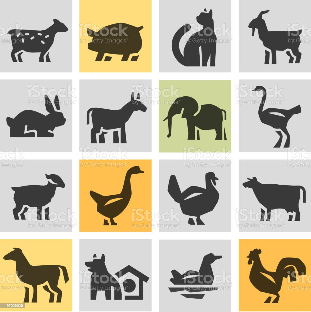 Animaux de la ferme icons vêtements. Signes et symboles - Illustration vectorielle
