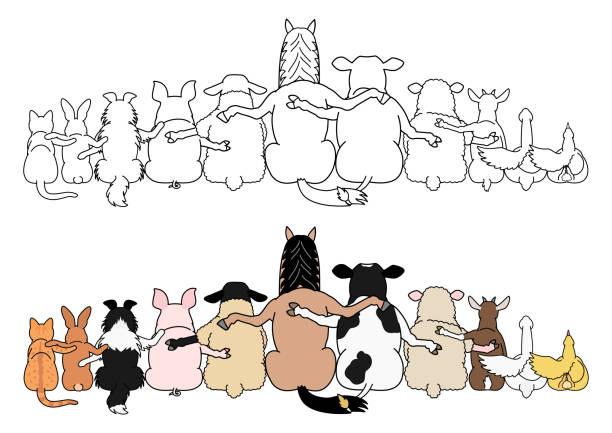 連続して家畜、肩の周りに足、後部ビュー ベクターアートイラスト