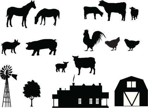 Farm Animals in Silhouette
