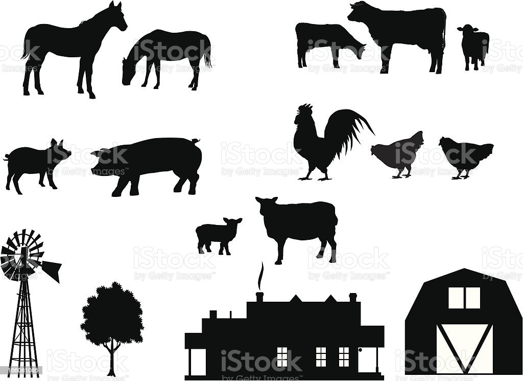 Farm Animals in Silhouette vector art illustration