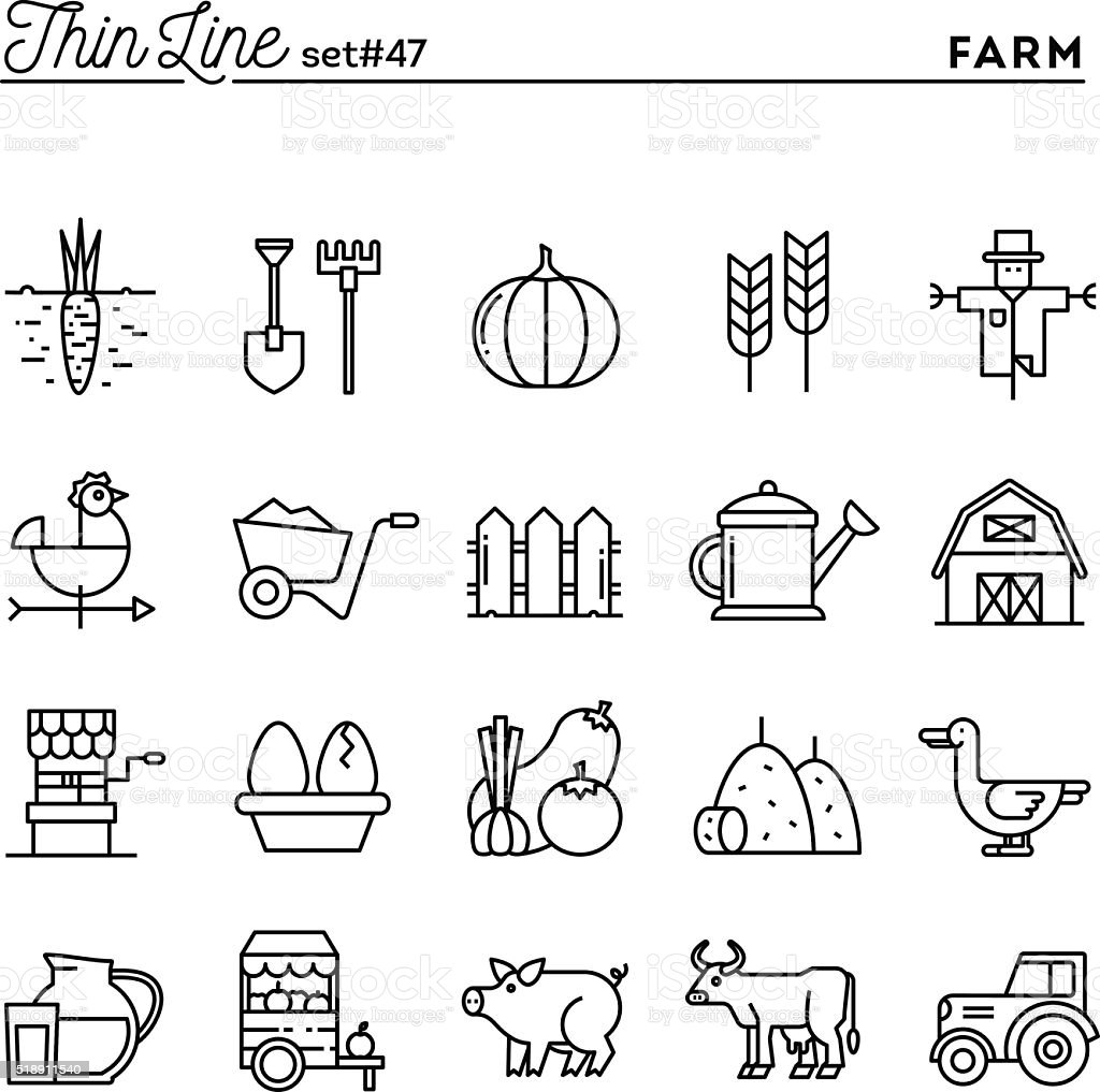 Farm, animals, land, food production and more, thin line icons vector art illustration