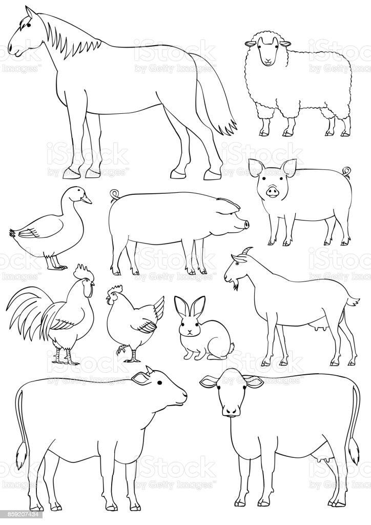 Farm animals line art set vector art illustration