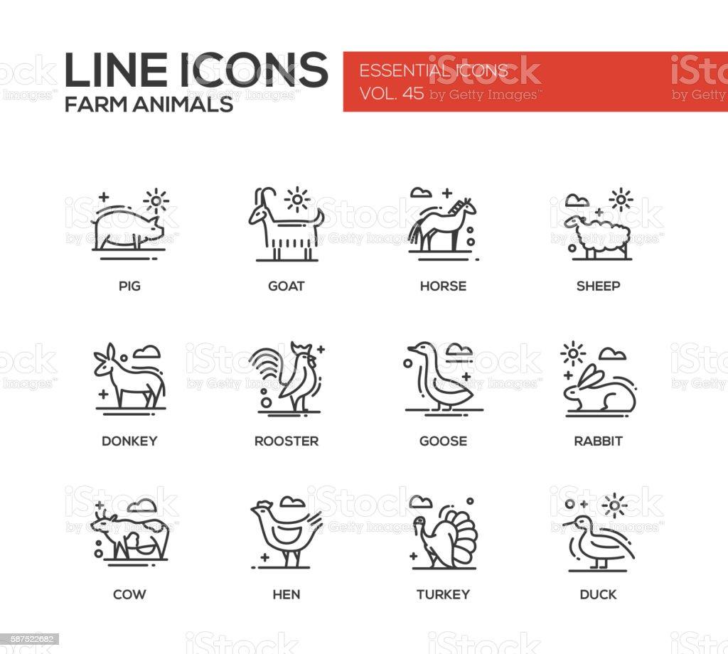 Farm animals - line design icons set - illustrazione arte vettoriale