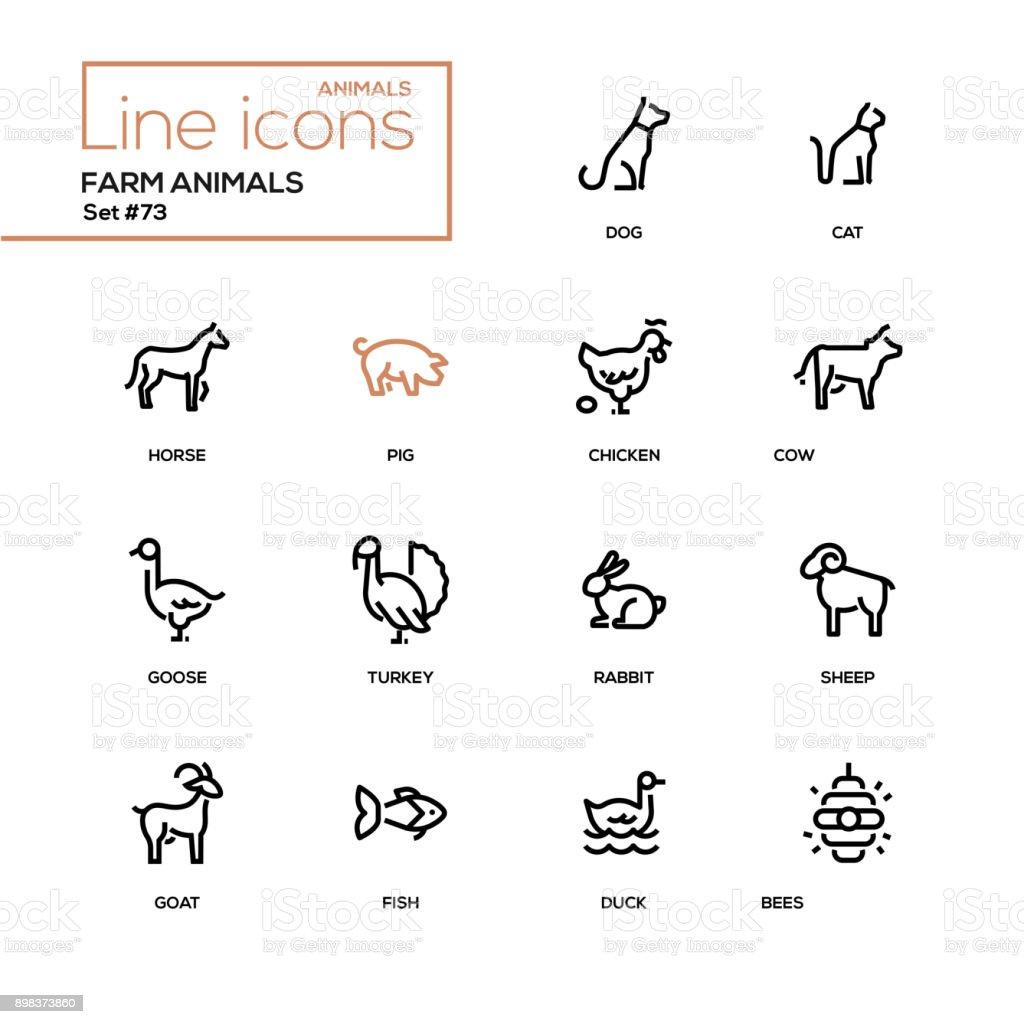 Farm animals - line design icons set vector art illustration