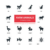 Farm animals - line design silhouette icons set. High quality black pictograms. Dog, cat, horse, pig, chicken, cow, goose, turkey, rabbit, sheep, goat, fish, duck, bees
