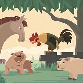 vector illustration of farm animals meeting…