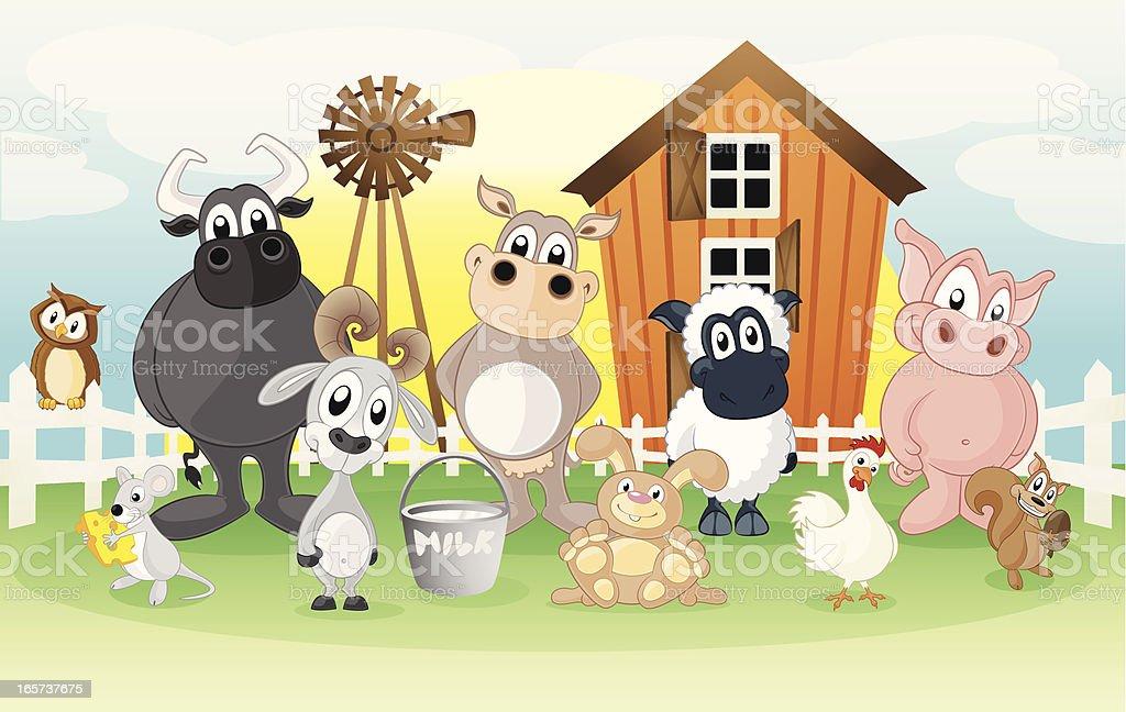 Farm animals on a cartoon background vector art illustration
