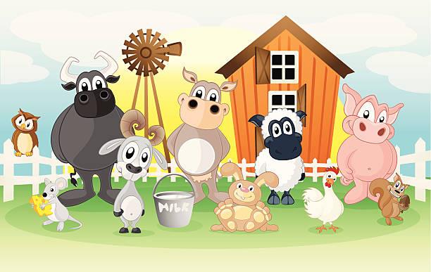 bauernhof auf einem comic hintergrund - kaninchenbau stock-grafiken, -clipart, -cartoons und -symbole