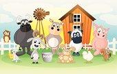Farm animals on a cartoon background