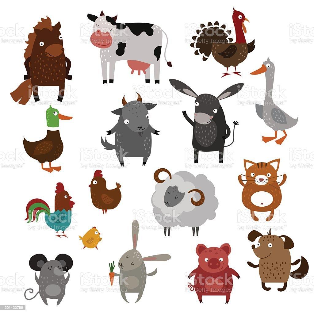 Vecteur de dessin animé animaux de ferme animaux de compagnie - Illustration vectorielle