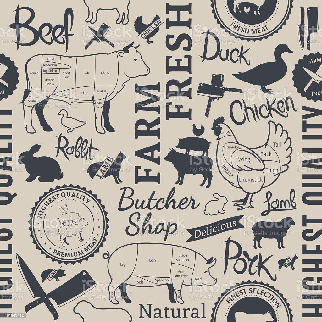 Farm Animals Seamless Pattern vector art illustration