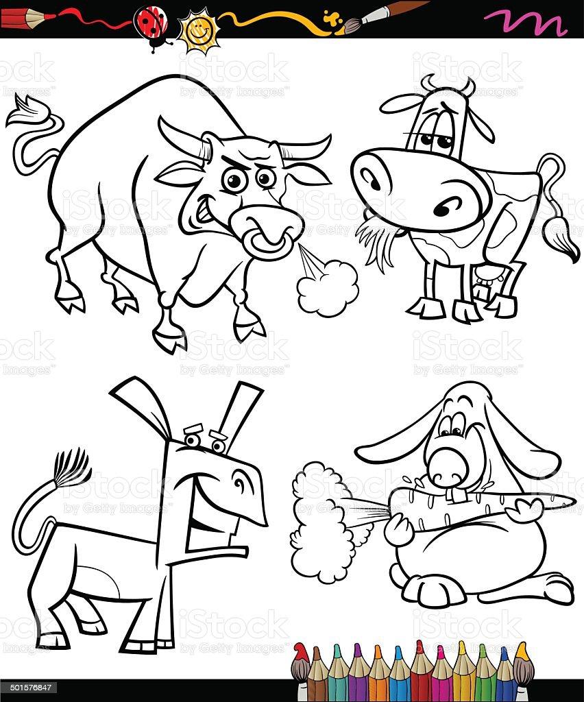 Ilustración de Conjunto De Animales De Granja Dibujos Animados Libro ...