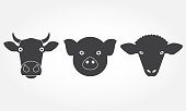 Farm animals set. Cow, pig and sheep head or face icons. Black isolated silhouettes. Vector illustration.