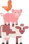 Farm animals set, hen pig and cow domestic cartoon, nature