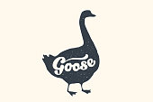 Farm animals set. Isolated goose silhouette and text Goose. Creative graphic design with lettering Goose for butcher shop, farmer market. Poster for animals theme. Vector Illustration